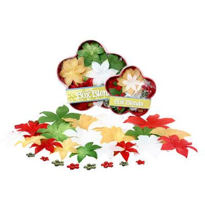 Petaloo - Flora Doodles Collection - Handmade Flowers - Glittered Dahlia Box Blend - Traditional Christmas, CLEARANCE