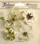 Petaloo - Textured Collection - Floral Embellishments - Mixed Blossoms - Ivory