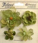 Petaloo - Textured Collection - Floral Embellishments - Mixed Blossoms - Moss Green