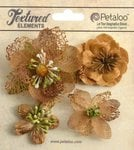 Petaloo - Textured Collection - Floral Embellishments - Mixed Blossoms - Mocha