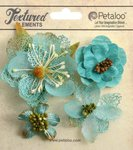 Petaloo - Textured Collection - Floral Embellishments - Mixed Blossoms - Teal