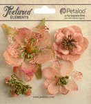 Petaloo - Textured Collection - Floral Embellishments - Mixed Blossoms - Apricot