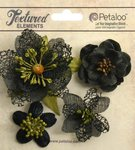 Petaloo - Textured Collection - Floral Embellishments - Mixed Blossoms - Black