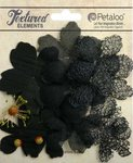 Petaloo - Textured Collection - Mixed Layering Flowers - Black