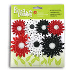 Petaloo - It's Magic Mickey Collection - Flora Doodles - Flowers - Polka Dot Daisy Layers - 7 Flowers - Black, Red and White