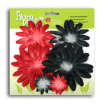 Petaloo - It's Magic Mickey Collection - Flora Doodles - Flowers - Double Delight Daisy Layers - Black and Red, CLEARANCE