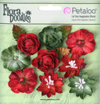 Petaloo - Flora Doodles Collection - Velvet Holiday Floral - Assorted Blossoms - Red and Burgundy