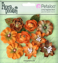 Petaloo - Flora Doodles Collection - Velvet Holiday Floral - Assorted Blossoms - Orange and Brown