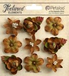 Petaloo - Textured Collection - Floral Embellishments - Mini - Mocha