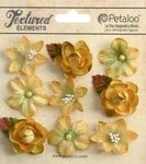 Petaloo - Textured Collection - Floral Embellishments - Mini - Amber