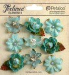 Petaloo - Textured Collection - Floral Embellishments - Mini - Teal