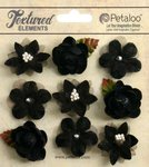 Petaloo - Textured Collection - Floral Embellishments - Mini - Black