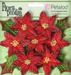 Petaloo - Flora Doodles Collection - Christmas - Velvet Holiday Floral - Mini Poinsettias - Red
