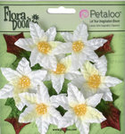 Petaloo - Flora Doodles Collection - Christmas - Velvet Holiday Floral - Mini Poinsettias - White