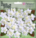 Petaloo - Flora Doodles Collection - Christmas - Velvet Holiday Floral - Forget Me Nots - White