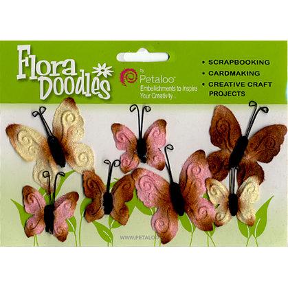 Petaloo - Flora Doodles - Velvet Butterflies - Pink and Brown