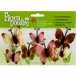 Petaloo - Flora Doodles - Velvet Butterflies - Pink and Brown