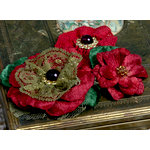 Petaloo - Chantilly Collection - Velvet and Lace Flowers - Burgundy