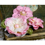 Petaloo - Chantilly Collection - Velvet and Lace Flowers - Pink