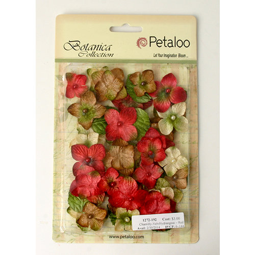 Petaloo - Chantilly Collection - Velvet Hydrangeas - Red