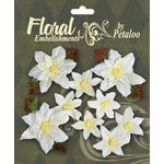 Petaloo - Chantilly Collection - Christmas - Velvet Poinsettias - White