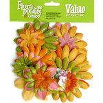 Petaloo - Flora Doodles Collection - Layering Fabric and Glitter Flowers - Sherbert