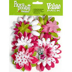 Petaloo - Flora Doodles Collection - Layering Fabric Flowers - Raspberry Delight