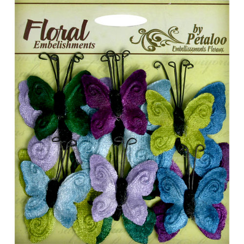 Petaloo - Chantilly Collection - Velvet Butterflies - Cool Tones