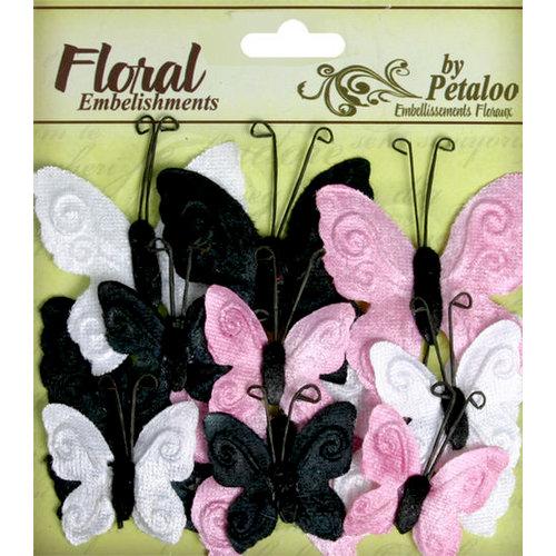 Petaloo - Chantilly Collection - Velvet Butterflies - Pink Poodle