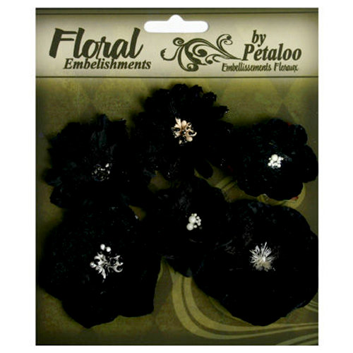 Petaloo - Chantilly Collection - Mixed Blooms Flowers - Black