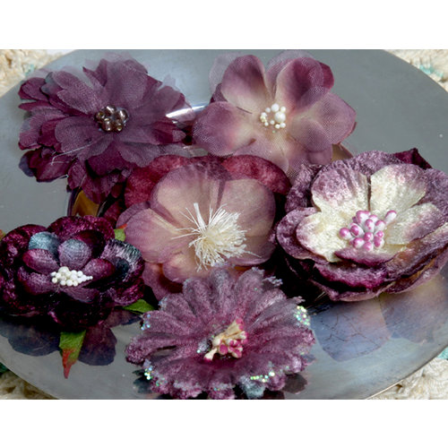 Petaloo - Chantilly Collection - Mixed Blooms Flowers - Lilac Purple