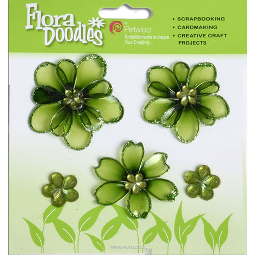 Petaloo - Flora Doodles Collection - Jeweled Candies - Mini Flowers - Green
