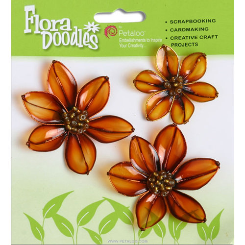 Petaloo - Flora Doodles Collection - Glittered Candies - Magnolias - Brown