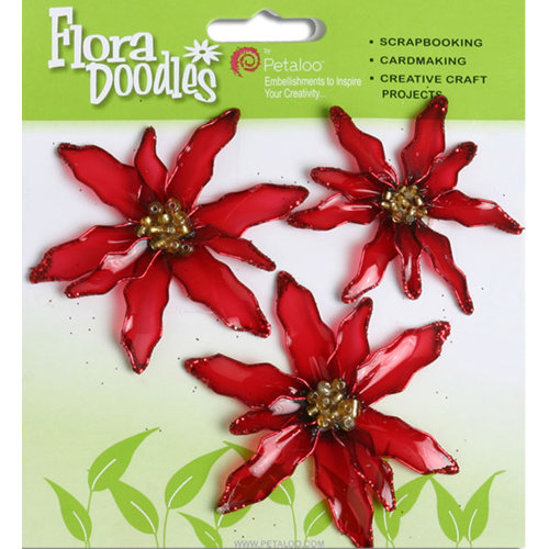 Petaloo - Flora Doodles Collection - Christmas - Glittered Candies - Poinsettias - Red