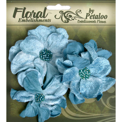 Petaloo - Chantilly Collection - Velvet Wild Roses - Light Blue