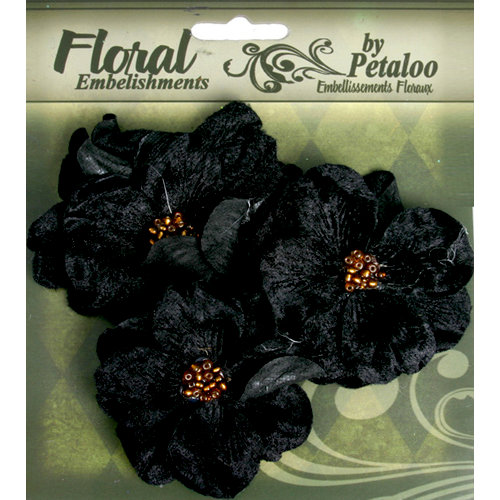 Petaloo - Chantilly Collection - Velvet Wild Roses - Black