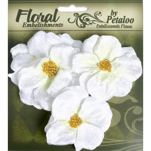 Petaloo - Chantilly Collection - Velvet Wild Roses - White