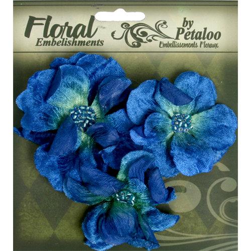 Petaloo - Chantilly Collection - Velvet Wild Roses - Dark Blue