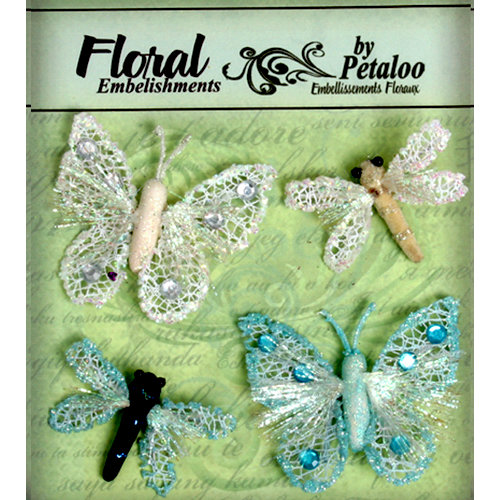 Petaloo - Devon Collection - Glitter Critters - White and Light Blue