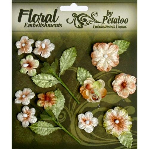 Petaloo - Chantilly Collection - Velvet Mini Blossoms - Cream