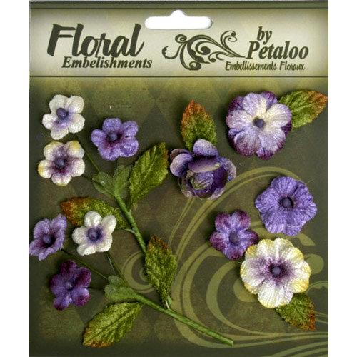 Petaloo - Chantilly Collection - Velvet Mini Blossoms - Amethyst