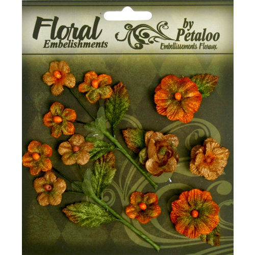 Petaloo - Chantilly Collection - Velvet Mini Blossoms - Pumpkin