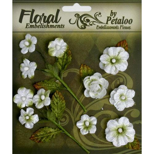 Petaloo - Chantilly Collection - Velvet Mini Blossoms - White