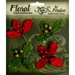 Petaloo - Chantilly Collection - Velvet Berry Picks - Red and Green