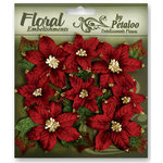 Petaloo - Chantilly Collection - Velvet Floral Embellishments - Poinsettias - Red