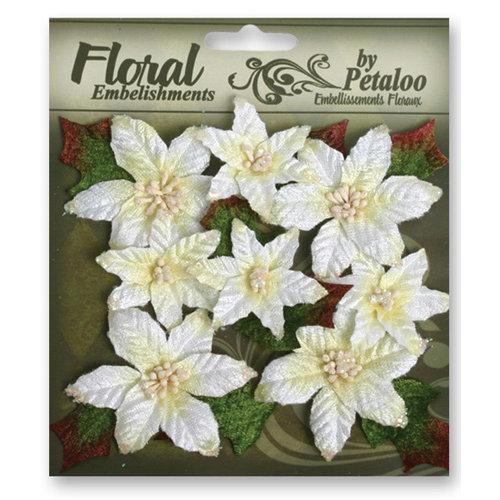 Petaloo - Chantilly Collection - Velvet Floral Embellishments - Poinsettias - White