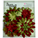 Petaloo - Flora Doodles Collection - Layering Fabric Flowers - Daisies - Burgundy and Dark Green