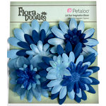 Petaloo - Flora Doodles Collection - Layering Fabric Flowers - Daisies - Dark Blue and Blue