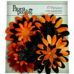 Petaloo - Flora Doodles Collection - Layering Fabric Flowers - Daisies - Black and Orange