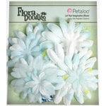 Petaloo - Flora Doodles Collection - Layering Fabric Flowers - Daisies - White and Light Blue